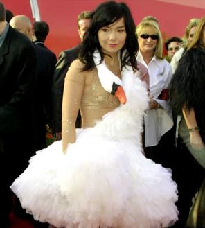 The singer Bjork dressed in a swan costume