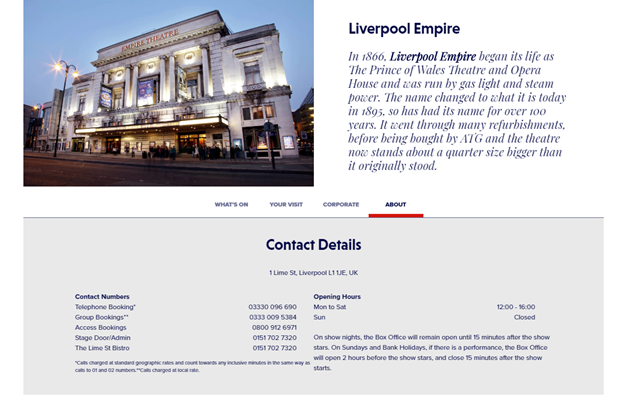 A page of information regarding Liverpool Empire including an image of the exterior of the theatre