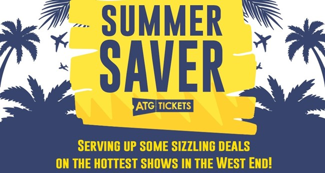 A blue and white background with palm trees and planes flying overhead. A yellow banner with the words Summer Saver ATG Tickets