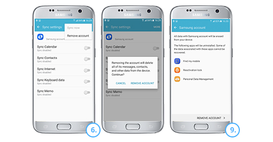 Removing your Samsung account with your device