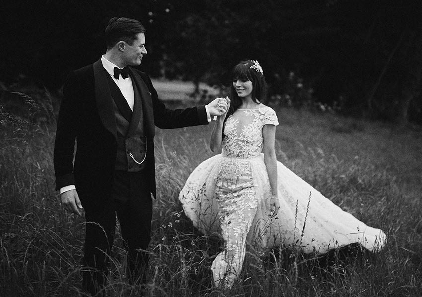 black and white wedding day photography for romantic wedding in Ireland