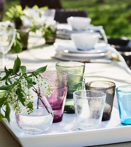 everyday coloured tumblers in beautiful jewel tones for outdoor entertaining in the garden