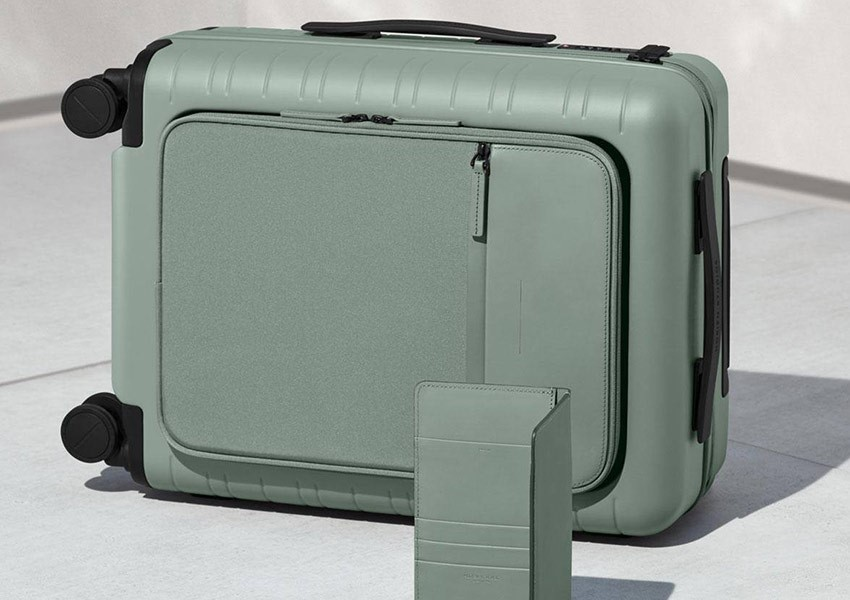 Green cabin suitcase from Horizn Studios