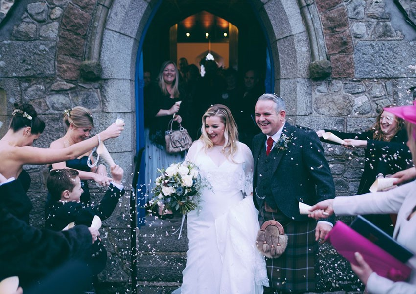 Couple on their wedding day in Scotland