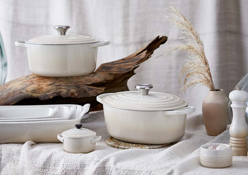 Le Creuset meringue cookware range at The Wedding Shop