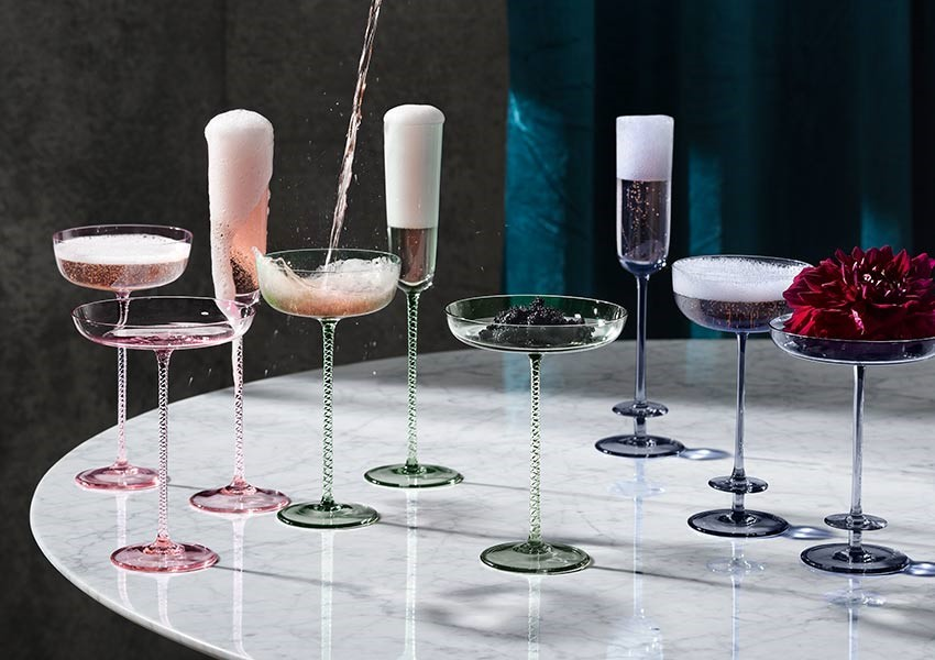 Sophisticated pair of LSA champagne saucers