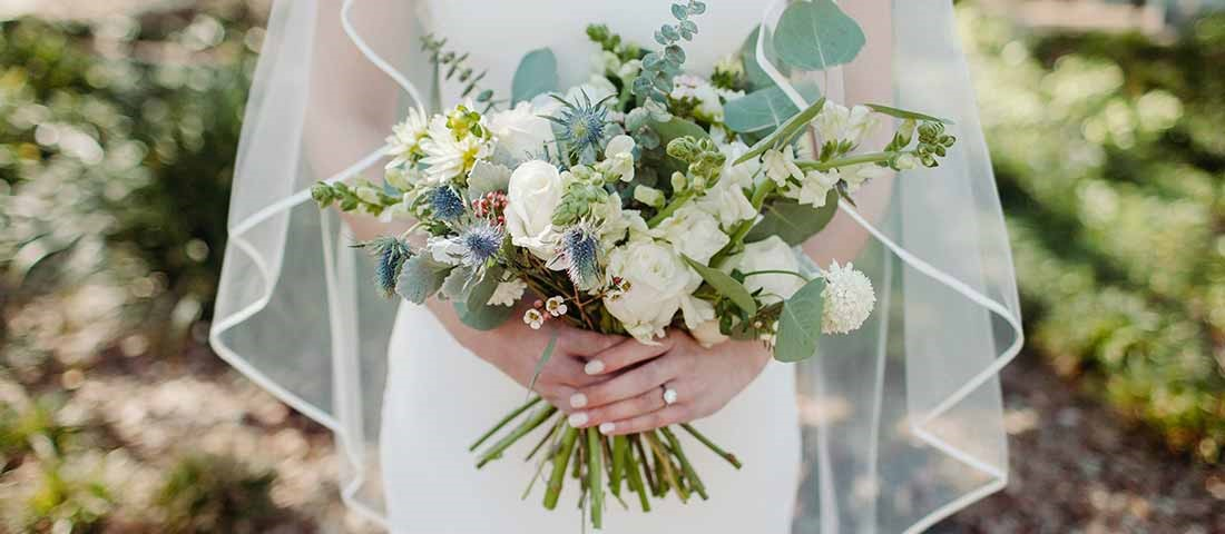 Engagement ring with bridal bouquet