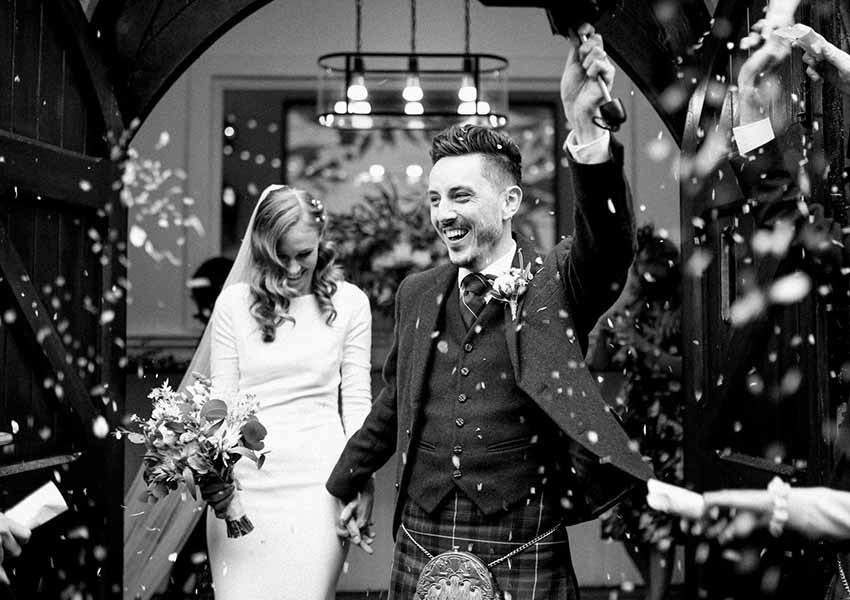 Scotland wedding during the pandemic black and white photography