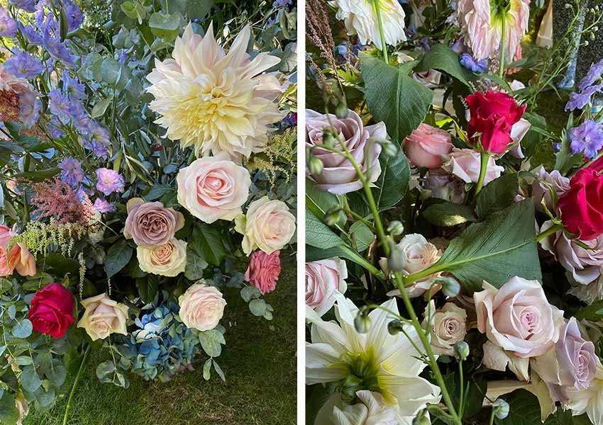 bright and whimsical roses, dahlias and pampas grass.