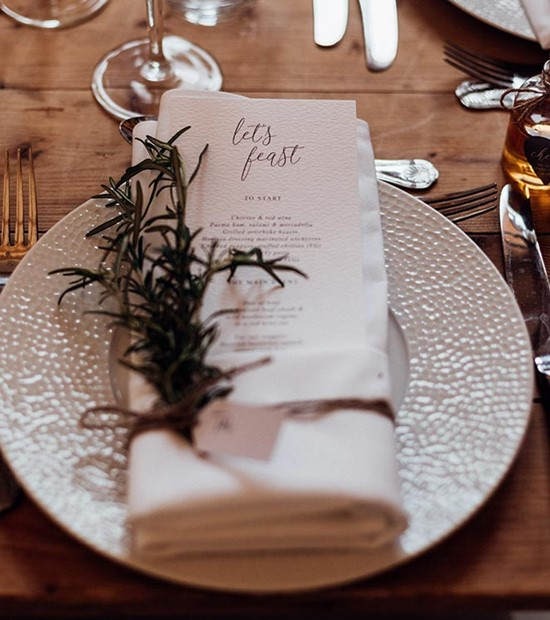 caviar and chips wedding breakfast tablescape with wedding menu