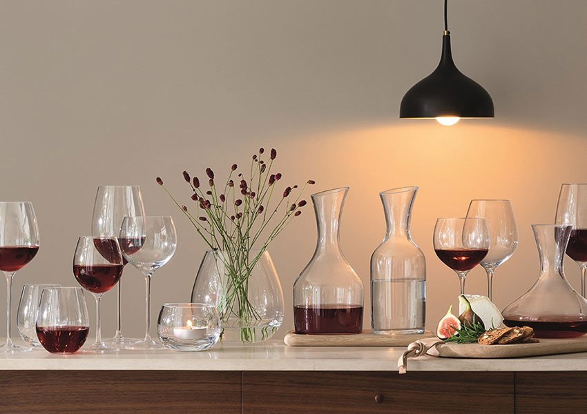 LSA international red and white wine glasses