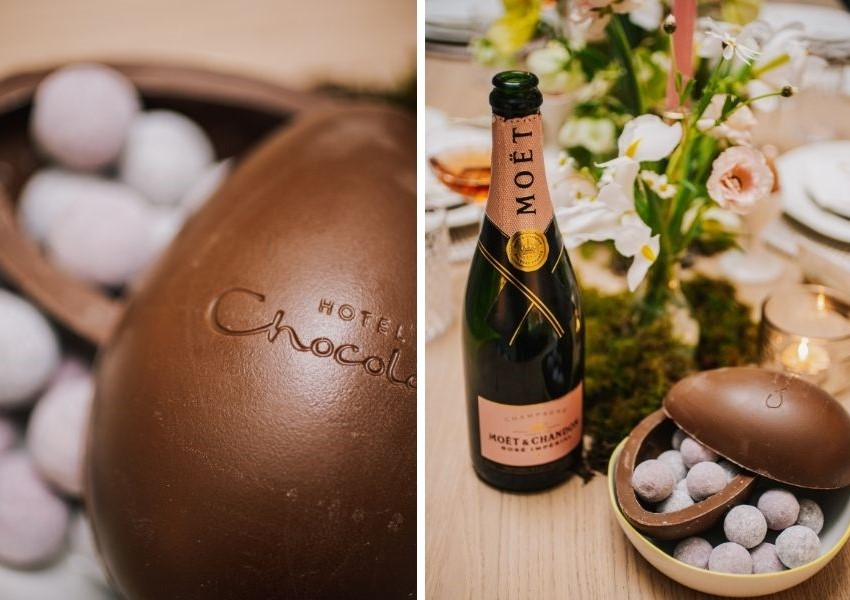 Hotel chocolat easter egg and moet for easter table decor