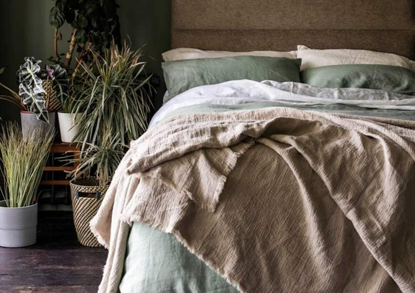 Piglet Bedding Bundle Sage Green Duvet - Bedroom shot