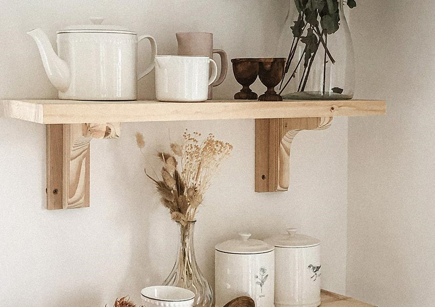 Kitchen shelving with white classic teapot - wedding gifts