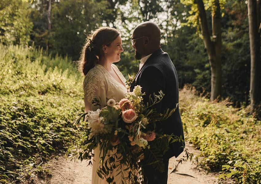 Couple on their wedding day in a forest