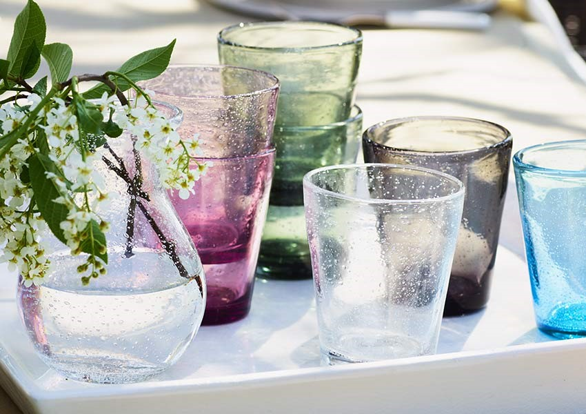 mouth blown jewel coloured tumblers